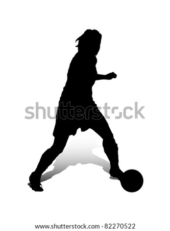 An abstract raster illustration of a (female) striker during a dribbling.
