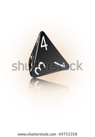 An abstract raster illustration of a 4-sided die. - stock photo