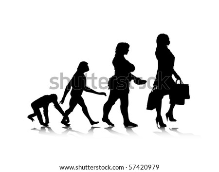 An abstract raster illustration of human evolution.