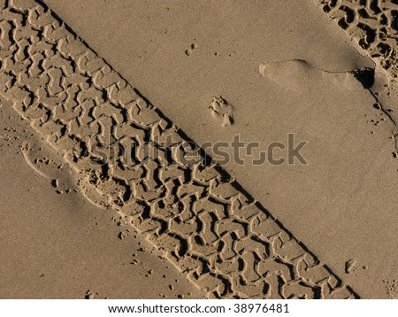 An abstract shot of tyre tracks on a beach