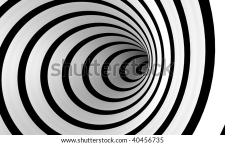 An abstract spiral of black and white that spirals off into the distance
