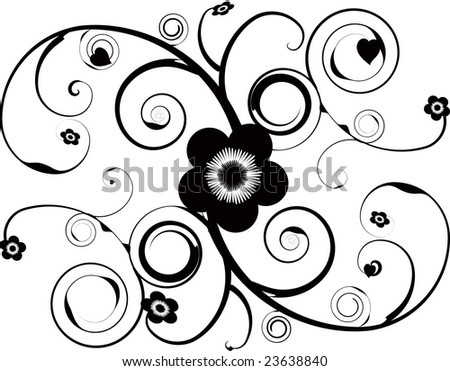 stock photo : An abstract tattoo design with vine and flower illustrations