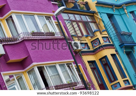 An abstract view of a multicolored apartment block facade in the turkish city of istanbul.