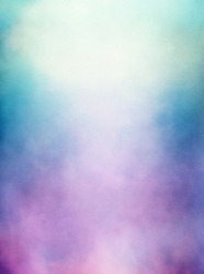 An abstraction of clouds and fog with a purple to green gradient.  Image displays a distinct paper texture and grain at 100%.