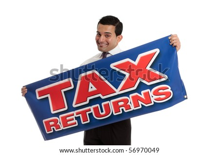 An accountant, tax agent, tax auditor or businessman holding a sign.  White background.