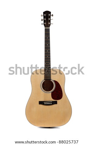 An acoustic guitar on a white background
