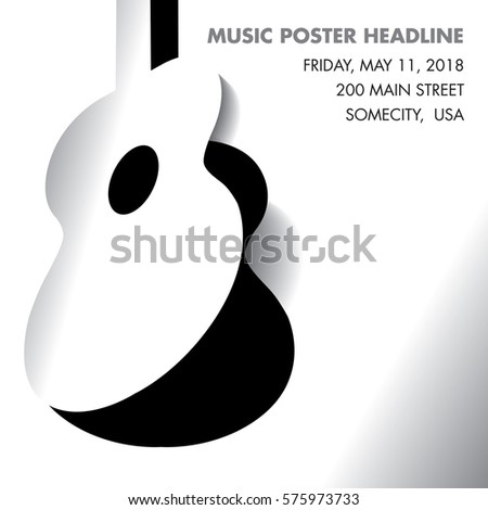 An acoustic guitar opens - ideal for gig flyers of CD art