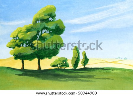 An acrylic painting of a few trees casting long shadows in a sunny afternoon along the edge of a farmer's field.