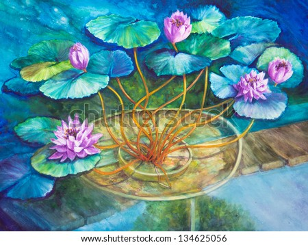 An acrylic painting of Monet's water lily pond at Giverny is finished in blues and greens.
