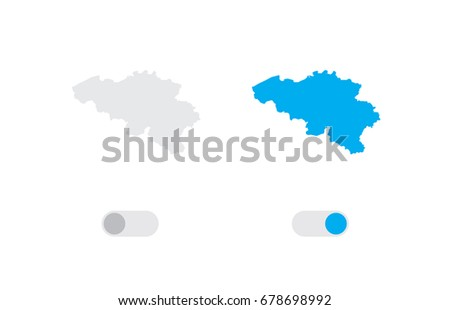 An Active and Inactive Illustrated Country Shape of  Belgium