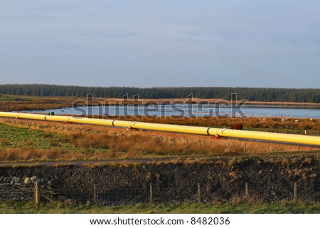 An active oil pipeline in Wester, Sinclair Bay, Caithness, Scotland.