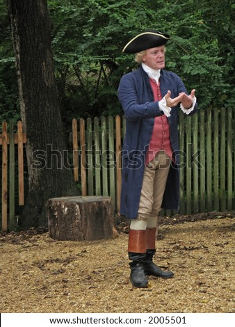 An actor playing Thomas Jefferson at Colonial Williamsburg in Virginia.