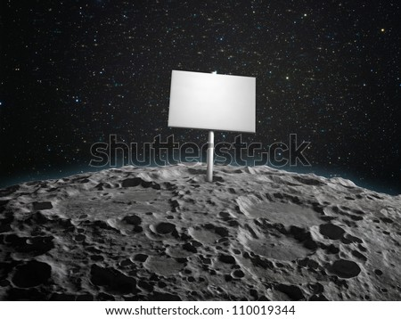 An adboard placed on the  surface of a planetoid