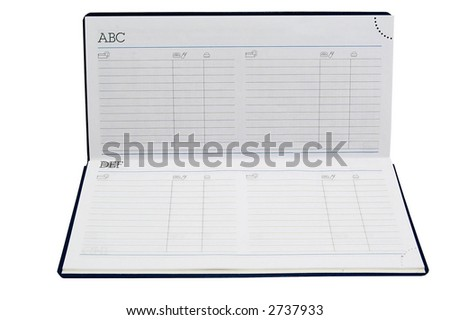 An address book with opened blank pages