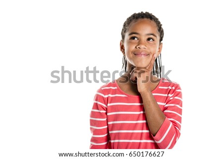 An Adorable african little girl on studio white background #650176627