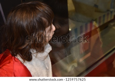 An adorable child presses her nose against the glass of a toy store window to see the wares inside.