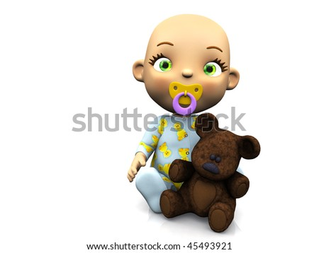 An adorable cute cartoon baby sitting on the floor with a pacifier in its mouth and holding a teddy bear. White background.