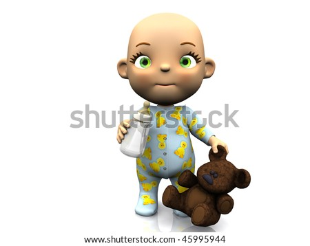 An adorable cute cartoon baby standing on the floor holding a baby bottle in one hand and a teddy bear in the other hand. White background.
