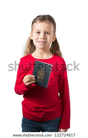 An Adorable Girl Holding her Canadian Passport