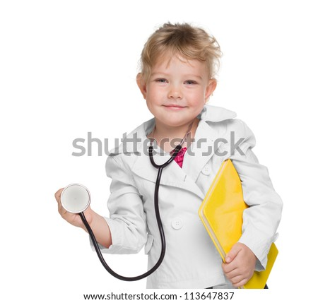 An adorable little girl playing doctor on white