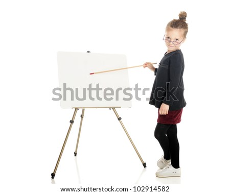 "An adorable ""teacher"" peering over her glasses while pointing at the white board easel.  On a white background.  (The easel is left blank for your text.)"