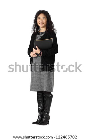 An adult Asian female student businesswoman isolated on white - stock photo