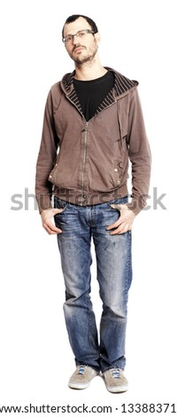 An adult caucasian man at his early 30's looking at the camera with an expression full of quiet confidence, a hint of a grin in his eyes. Isolated on white background.