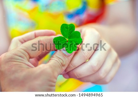 An adult gives the child a four leaf clover. Arms. The symbol of good luck. Good luck wish concept #1494894965