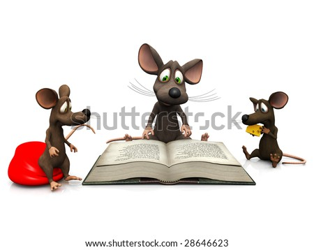 An adult mouse reading a story for two mice kids.