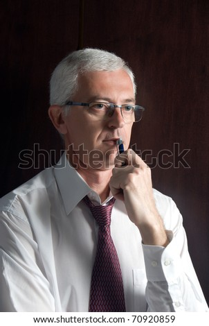 an adult thoughtful man portrait