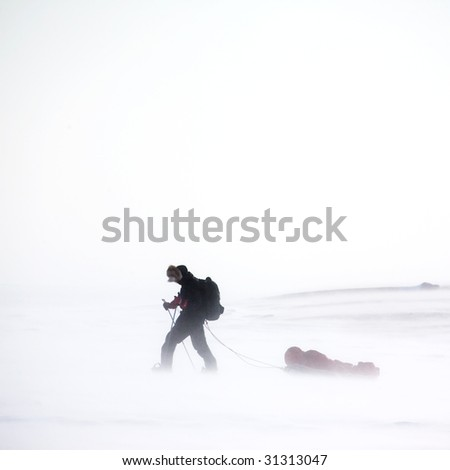 An adventurer in a cold winter storm