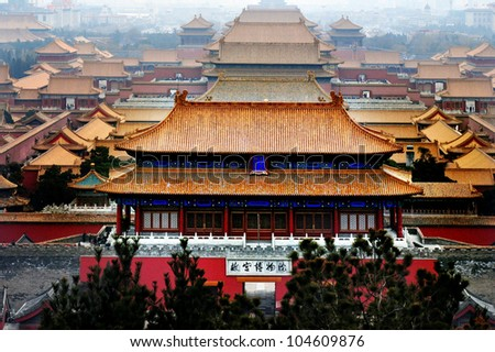 Stock Photo An aerial bird view of the architecture building and decoration of the Forbidden City in Beijing, China.