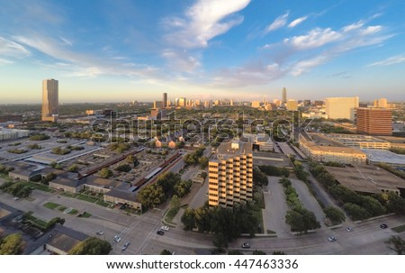 An aerial cityscape view of the Houston Galleria skyline, from the east, as seen from a drone quadcopter flying above Fountain View Dr near Westheimer Road with blue skies and white clouds.  Foto d'archivio ©