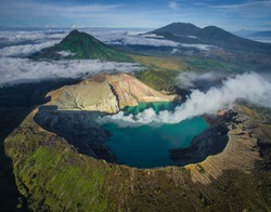 An Aerial Drone View of Kawah Ijen - Early in the Morning. The Ijen volcano complex is a group of composite volcanoes in the Banyuwangi Regency of East Java, Indonesia.