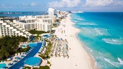 An aerial image of a beach in Cancun, Mexico.