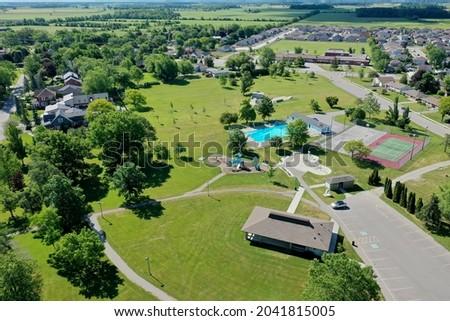 An aerial of Grant Kett Park in Hagersville, Ontario, Canada Stock fotó ©