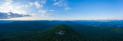 An aerial panorama of Duncan Knob and the Massanutten Range, located in the George Washington National Forest, in Page County Virginia.