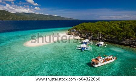 An aerial perspective of the Sumilon island beach landing near Oslob, Cebu, Philippines.