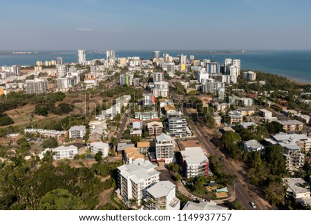 An aerial photo of Darwin, the capital city of the Northern Territory of Australia showing the central business district and nearby suburbs