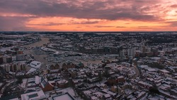 An aerial photo of in Ipswich, Suffolk, UK at sunset