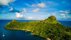 An aerial photo of Pigeon Island in St Lucia during a beautiful summers day