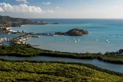 An aerial shot Five finger, Jolly Habour Antigua