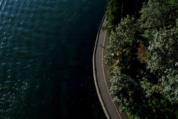 An aerial shot of a coastal  road beside a forested area with a person on a bicycle