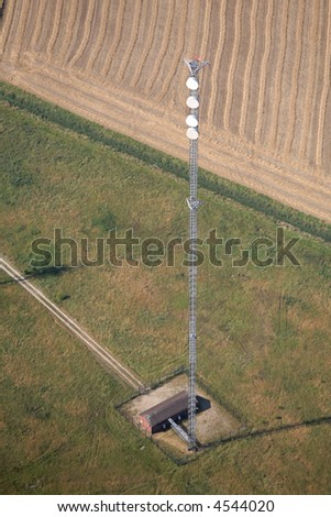 An aerial shot of a communication mast.