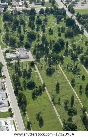 An aerial shot of a town cemetery.