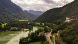 An aerial shot of castle Klaus, Austria.