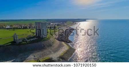 An aerial shot of Reculver towers roman fort situated in Herne Bay kent