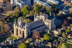 An aerial shot of the Peterborough Cathedral in Peterborough, England during daylight