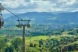 An aerial tramway overlooking the Cabarceno Natural Park in Cantabria, Spain