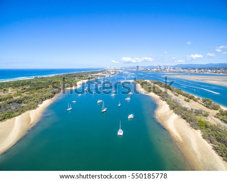 An aerial view looking over the Broadwater towards Surfers Paradise on the Gold Coast